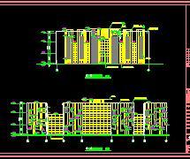 三层框架结构扇形会所建筑施工图纸