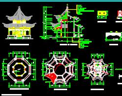 多套中式亭子建筑施工图