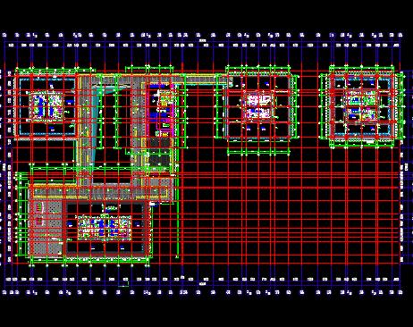 高层服务型办公楼建筑结构、暖通装修施工图纸(地下车库及人防▄▓)