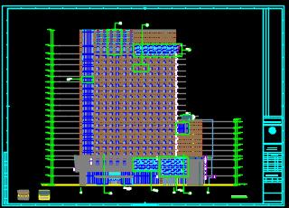 二十二层酒店及办公楼全套施工图(含建筑结构,水电暖)