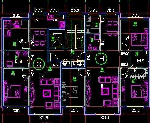 高层电梯户型图免费下载 - 建筑户型平面图 - 土木