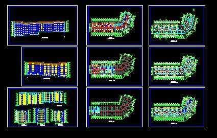 多层转角楼住宅楼设计图免费下载 - 建筑户型平面图