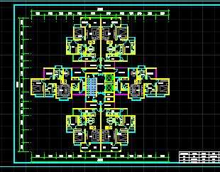 某一梯六户住宅户型平面图免费下载 建筑户型平面图