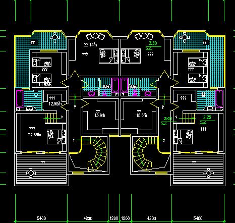 某复式住宅楼户型平面设计图