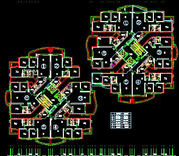 某三梯六户住宅楼户型平面图免费下载 建筑户型平面图