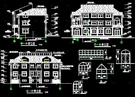 81平方米三层欧式错层别墅建筑施工图纸