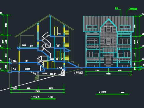 120平米三层双拼别墅设计图纸