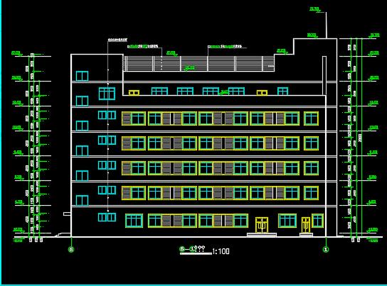 6层框架办公楼建筑施工图纸