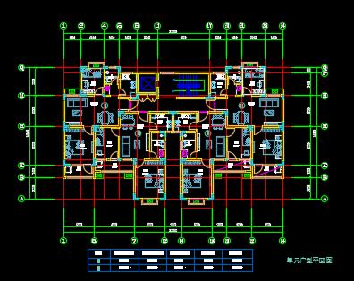 一梯四户住宅户型平面图