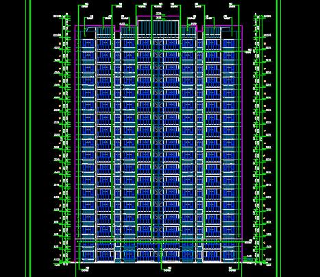 18层一梯四户高层住宅楼建筑设计图纸