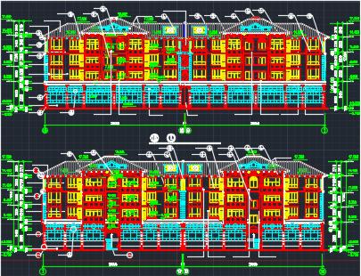 四层框架结构坡顶住宅楼建筑设计图纸