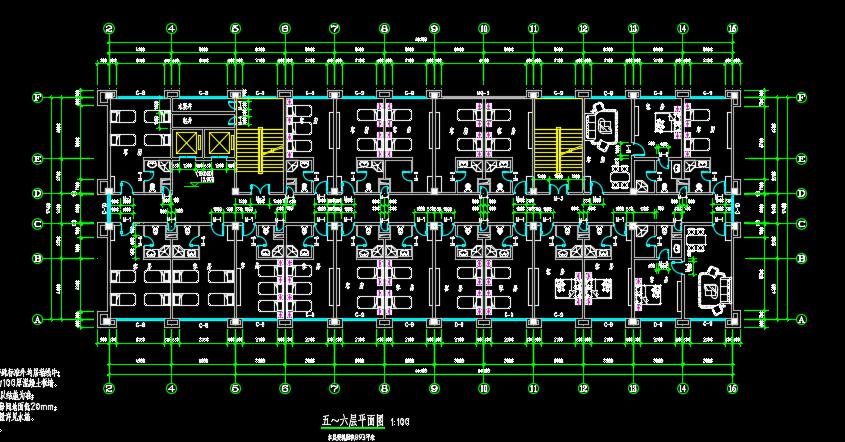 六层框架结构快捷酒店建筑设计图纸
