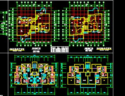 63套一梯二板式住宅户型平面图