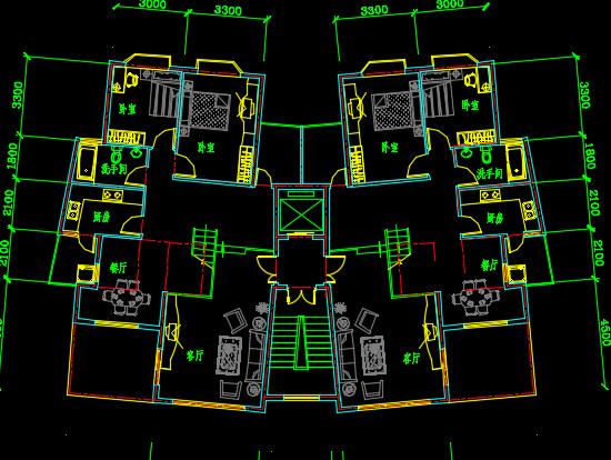 六种一梯二户多层户型平面图
