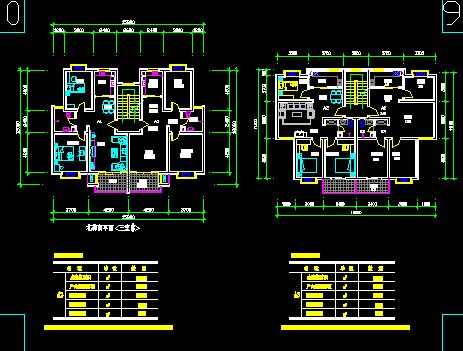 多层住宅楼户型设计图纸免费下载 - 建筑户型平面图