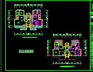 二户及三户小高层住宅楼户型平面图