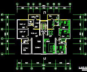 三房两厅两厕住宅户型平面图