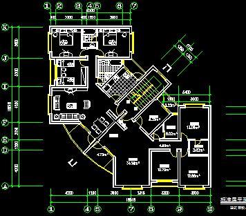 一梯两户L型住宅楼户型平面图