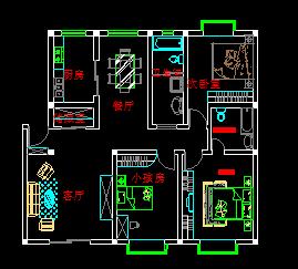 三室两厅住宅户型设计图