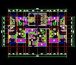 2个一梯三户高层住宅户型平面图