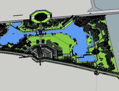 仿古公园SketchUp模型