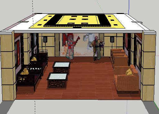 戏剧元素室内装修SketchUp模型