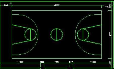 CAD篮球场平面尺寸图免费下载-建筑详图、图2010cad转换批量成pdf图片