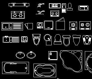 厨卫用具平立面CAD图库