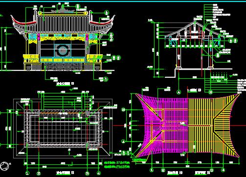 全木结构传统戏台设计图纸