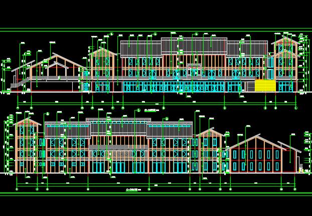 多层办公楼建筑施工图纸(含建筑结构水电暖)