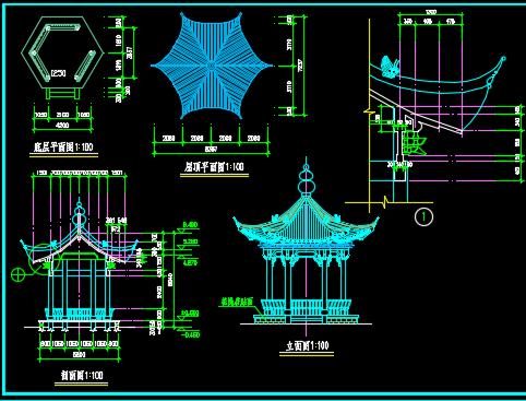廊亭建筑施工图纸