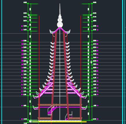 23层钟鼓楼风雨楼建筑施工图纸