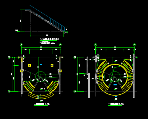 弧形旋转楼梯建筑结构详图