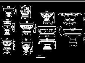 罗马柱造型柱CAD构件图库