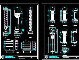 欧式柱构件CAD详图库