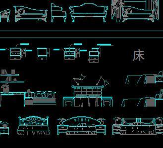 常见家具立面cad素材图库v3