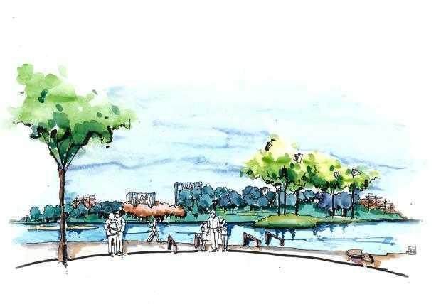 滨水景观手绘图免费下载 - 建筑效果图 - 土木工程网