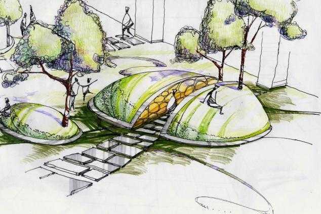 园林景观马克手绘图免费下载 - 建筑效果图 - 土木