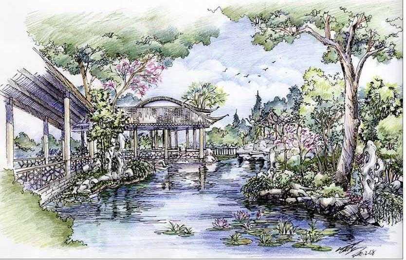 园林小景手绘图