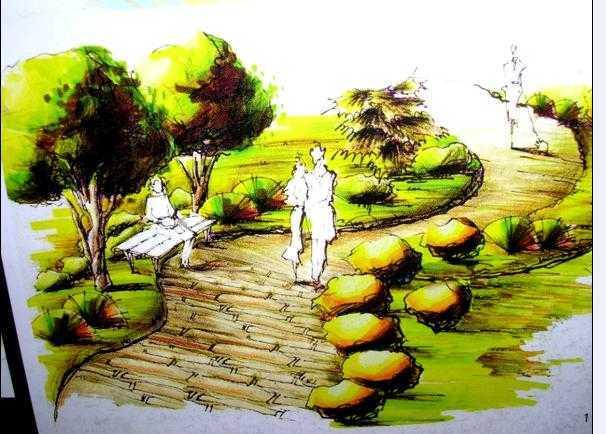 园林小景手绘效果图