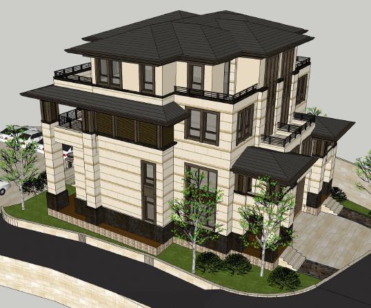 三层双拼别墅建筑设计图纸