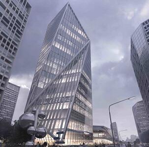 不规则异型现代建筑效果图psd素材