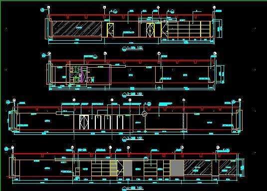 某办公楼四至七层装修剖立面图