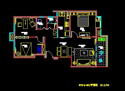 两居室样板房装修设计图