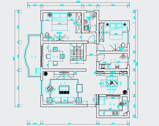 两室两厅一厨一卫住宅装修设计图