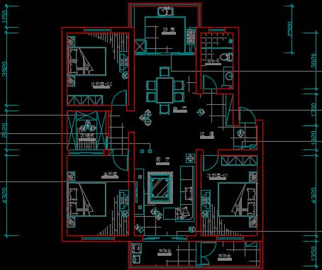 三室两厅一厨一卫住宅装修工程施工图纸