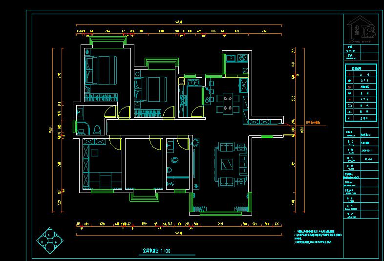 125平方米住宅精装修设计图纸