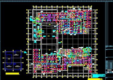 四层综合楼、暖通、空调、通风、排烟系统设计施工图纸