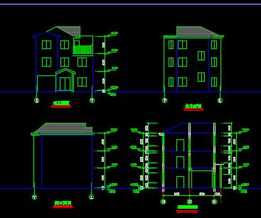 三层砖混结构乡村别墅施工图纸