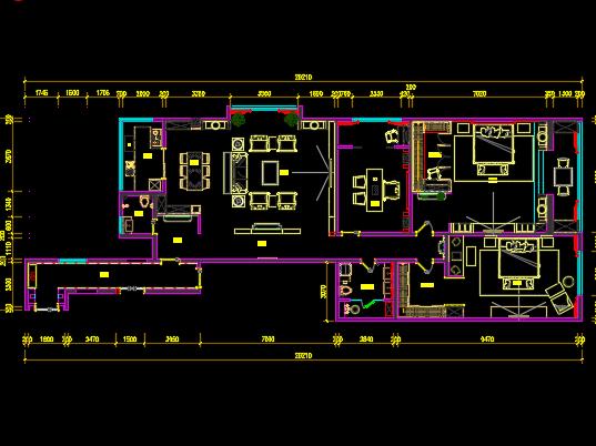 新中式样风格板间住宅施工图纸